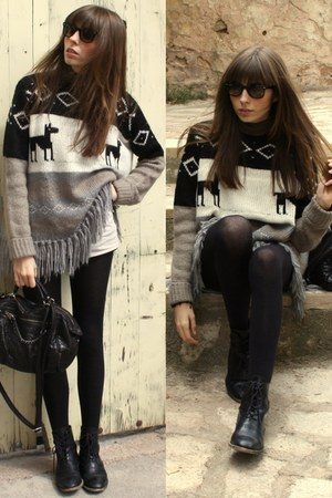 black Zara boots - heather gray Zara sweater - black Calzedonia tights