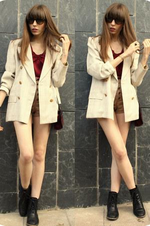 black Zara boots - tan vintage blazer - maroon vintage bag - light brown H&M sho