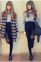 denim Alexandre Neddermann shirt - leather Zara boots - wool Zara coat