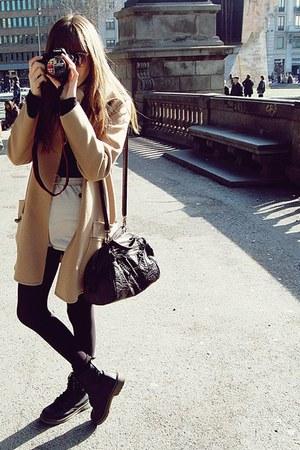 black Dr Martens boots - tan Topshop sunglasses - camel Mango coat - beige Ameri