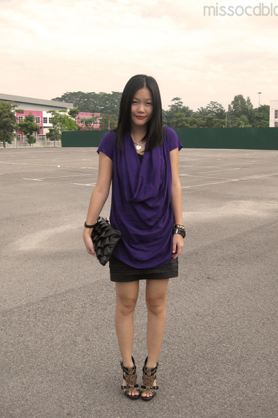 purple MissOCD top - black Miss OCD skirt - brown online shoes - black Old Bloss