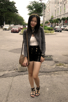 gray Miss OCD jacket - black online shorts - brown Acouplesbird accessories - bl