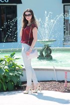 brick red top - ivory pleated skinny pants