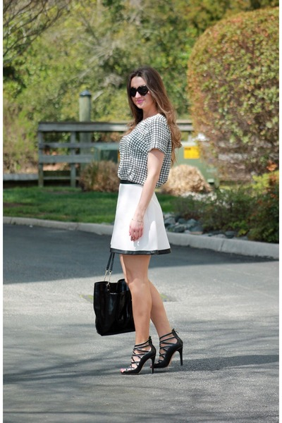 White Banana Republic Skirt Check Print Shirt Black Stry Heels