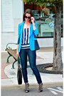 Black-cage-stilettos-gucci-shoes-blue-cropped-skinny-jcrew-jeans-blue-blazer