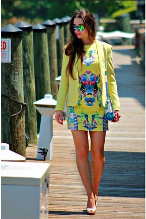 yellow dress - yellow blazer - blue aviators sunglasses