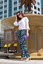 purple clutch coach bag - cat eye Dolce & Gabbana sunglasses - ALC blouse
