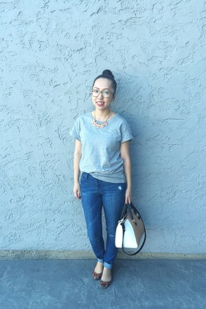 salmon Walmart necklace - blue Gap jeans - white Zara bag
