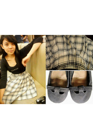 black flats artwork shoes - Mango top - plaid skirt Marks & Spencer skirt - my c