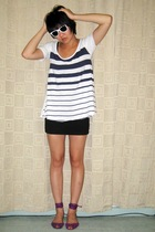 white cotton on shirt - black skirt