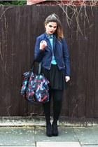 Kipling bag - Topshop jacket - Primark shirt - handmade skirt