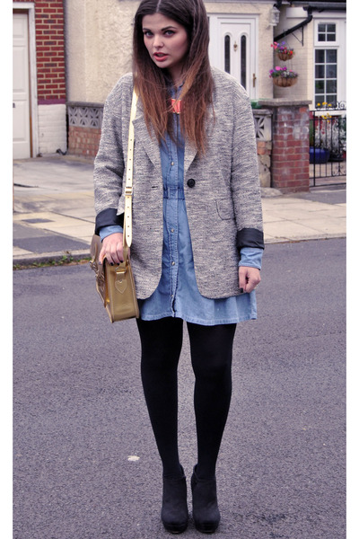 Topshop coat - Topshop dress - asos bag - salt & pepper wedges