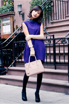 purple wool Marc by Marc Jacobs dress - light pink Prada bag