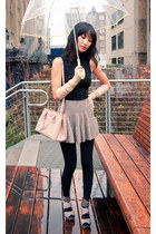 tan misspouty skirt - light pink Prada bag - black vintage top