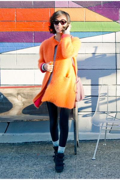 lewitt cardigan - suede baggu bag - round frame Dries Van Noten sunglasses