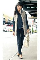 off white fur vest Zara vest - black black skinny Diesel jeans