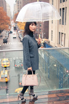 charcoal gray misspouty blazer - light pink Prada bag