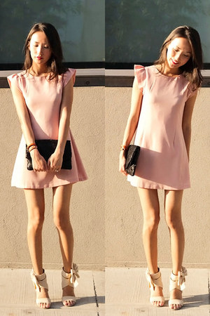 light pink misspouty dress - black lace detailed misspouty purse - eggshell chif
