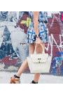 Blue-scarf-printed-misspouty-dress-ivory-black-martine-sitbon-bag