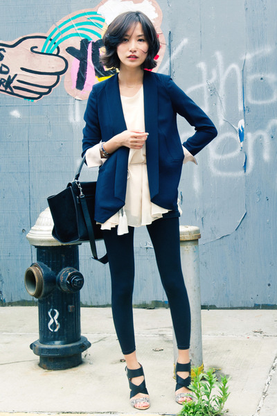 black trapeze Celine bag - blue misspouty blazer - eggshell misspouty top