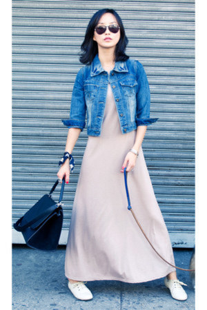 misspouty dress - beige cropped denim misspouty jacket