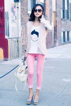 Giuseppe Zanotti heels - light pink linen misspouty blazer