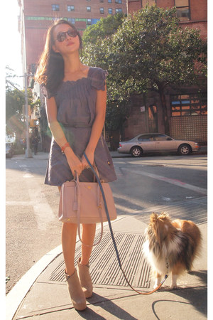 Steve Madden boots - ruffle shoulder See by Chloe dress - Prada bag