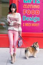 pink neon skinny misspouty jeans - tan zipper suede Steve Madden boots