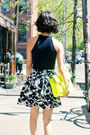 Black-misspouty-skirt-yellow-fluoro-cambridge-satchel-company-bag