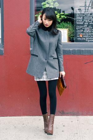 brown asymmetric toe lanvin boots - gray misspouty jacket - camel Khlees bag