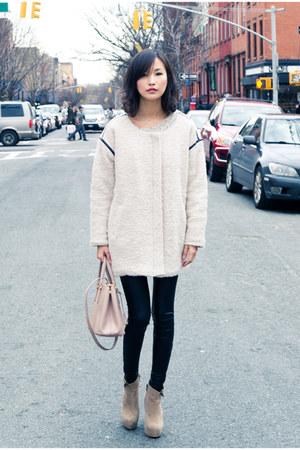 ivory misspouty coat - black lame leggings misspouty leggings