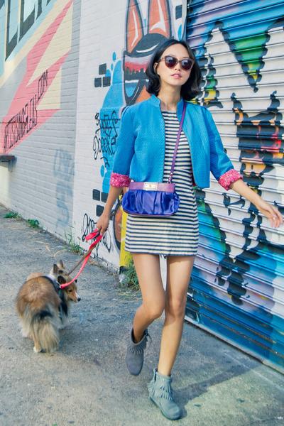 fringe Minnetonka boots - stripe cotton rag & bone dress