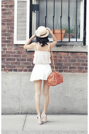 tan misspoutycom hat - white cotton Zara dress - light pink misspoutycom wedges