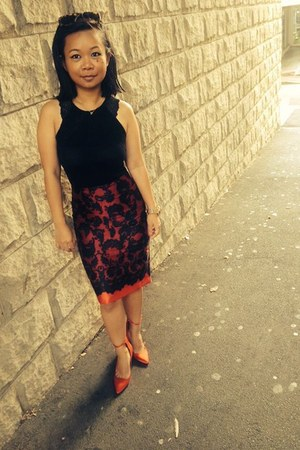 red Burberry pumps - ruby red Review Australia skirt - black H&M top