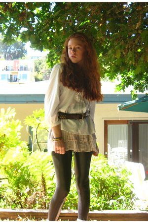 blouse - belt - skirt - leggings - boots - accessories
