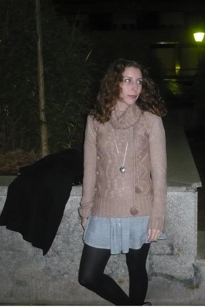pink c&a sweater - blue Stradivarius dress