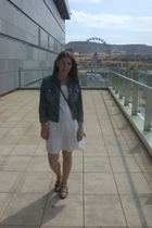 white Stradivarius dress - blue Pinkie jacket - brown Zara shoes