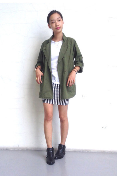 utility jacet OASAP jacket - ankle boots Zara boots - white t-shirt Topshop top