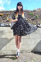 black floral Glassons dress - grey clutch thrifted bag - Singapore heels