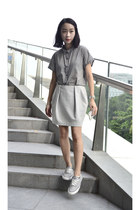 gingham global work shirt - cocoon COS skirt - grey leather Converse sneakers
