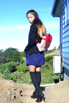 navy Singapore dress - red knapsack bag - black glitter thrifted cardigan