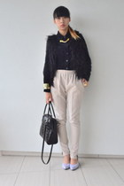 nude thrifted pants - thrifted shirt - black faux fur Singapore vest
