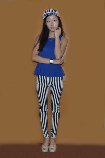 blue peplum Valley Girl top - snapback Oasapcom hat - bugis leggings