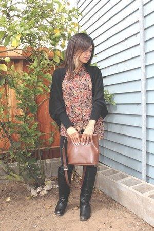 light brown vintage Esprit bag - black riding Cathy Jeans boots