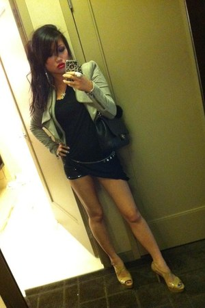 silver suede-cropped BCBG jacket - black 4 sequins Forever 21 shorts