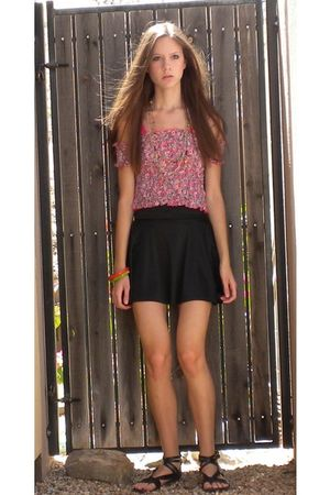 red Forever 21 top - black American Apparel skirt - black Steve Madden shoes