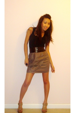 f21 shirt - Guess belt - lulus skirt - BCBGgirls shoes
