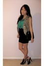 Green-top-brown-vest-black-skirt-black-shoes-black-purse