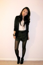 black She Said blazer - white Forever 21 top - gray FCUK shorts - black Forever