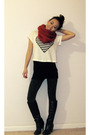 Red-diy-scarf-black-fcuk-top-white-forever-21-top-gray-topshop-leggings-